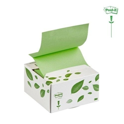 Dispenser Post-it® Z-Note riciclato - 76x76 mm - bianco / verde