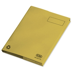 Elba Clifton Flat File with Back Pocket 315gsm Capacity 50mm Foolscap Yellow Ref 100090300 [Pack 25] - Item image