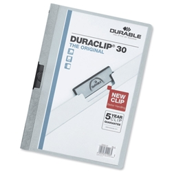 Durable Duraclip Folder PVC Clear Front 3mm Spine for 30 Sheets A4 Light Blue Ref 2200/06 [Pack 25]