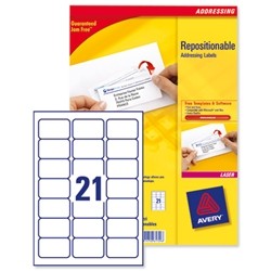 Avery Repositionable Address Labels Jam Free 21 per Sheet 63.5x38.1mm Ref L7960-100 [2100 Labels] - Item image