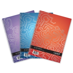 Oxford npad Modern Notebook Twin Wirebound 80gsm Ruled Margin 4 Holes 200pp A4+ Ref 100080105 [Pack 3]