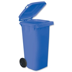 Wheelie Bin High Density Polythene with Rear Wheels 120 Litre Blue