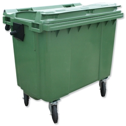 Bentley Wheelie Bin High-density Polythene with Rear Wheels 660 Litre Green Ref SPC/660G