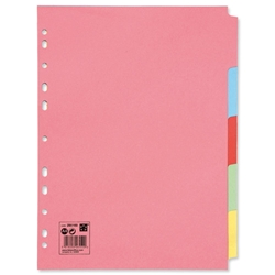 5 Star Subject Dividers Multipunched Manilla Board 5-Part A4 Assorted