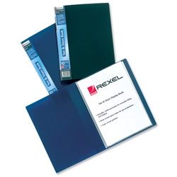 Rexel See and Store Book with Full-length Spine Ticket 60 Pockets A4 Blue Ref 10565BU