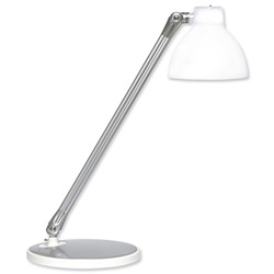 Unilux Fluorescent Desk Lamp Tilting Arm and Head Translucent Shade 12W White Ref 400012983