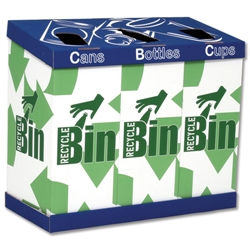 Vending Recycling Bin 3 Sections Drop-out Bottom for Cans Bottles Cups W800xD380xH700mm Ref VendingBin - Item image