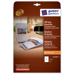 Avery Brochure Paper A4 folds on Long Edge White 99x210mm 190 gsm Ref C32290-25.UK [25 Sheets]