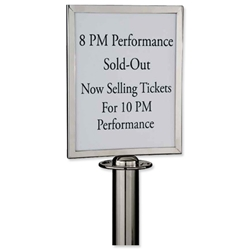 Sign Holder Polished Stainless Steel for Classic Rope Stand A4 W310xH220xD20 Ref RS-SIGN-A4PC