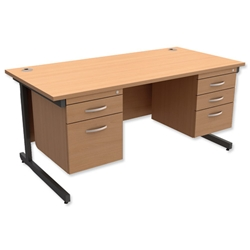 Trexus Contract Desk Rectangular with Double Pedestal Graphite Legs W1600xD800xH725mm Beech
