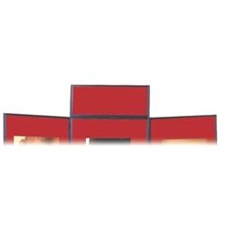 Nobo Showboard Display Header Panel W600xH250xD20mm Sides Black and Red Ref 1900048 - Item image