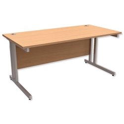 Trexus Contract Plus Cantilever Desk Rectangular Silver Legs W1600xD800xH725mm Beech