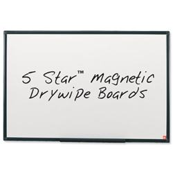 5 Star Drywipe Whiteboard Magnetic Lightweight with Fixing Kit and Pen Tray W900xH600mm