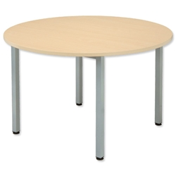 Sonix Boardroom Table Circular with Silver Legs Dia1200xH720mm Maple - Item image