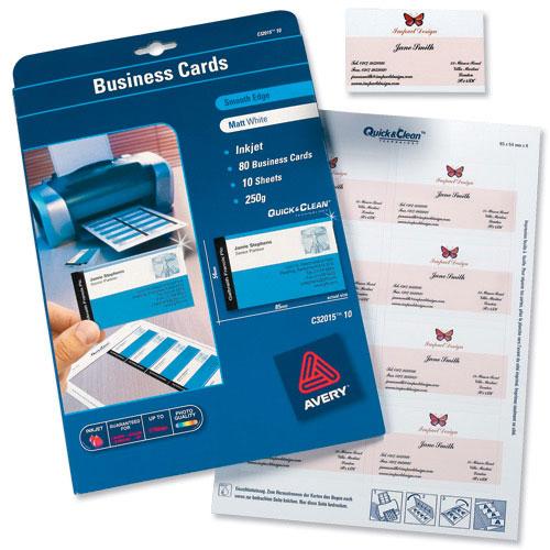 Avery C Matt Coated Inkjet Business Cards Ref C