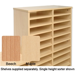 Tercel Post Room Sorter Hutch Add-on Double Height 2 Bay Can Fit 22 Shelves W640xD360xH1145mm Maple