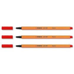 Stabilo Point 88 Fineliner Pen Water-based 0.8mm Tip 0.4mm Line Red Ref 88/40 [Pack 10] - Item image