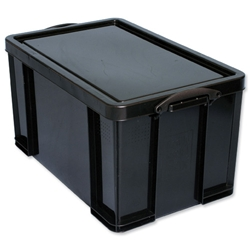 Really Useful Storage Box Plastic Recycled Robust Stackable 84 Litre W444xD710xH380mm Black Ref 84L