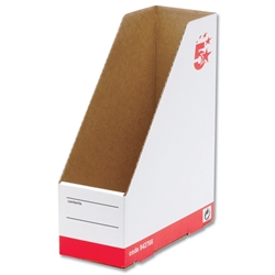 5 Star Magazine File Self-locking Part-recycled A4 Plus Red & White [Pack 10]