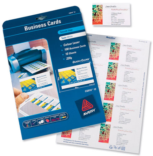 Avery C Quick & Clean Business Cards Laser 220gsm 10