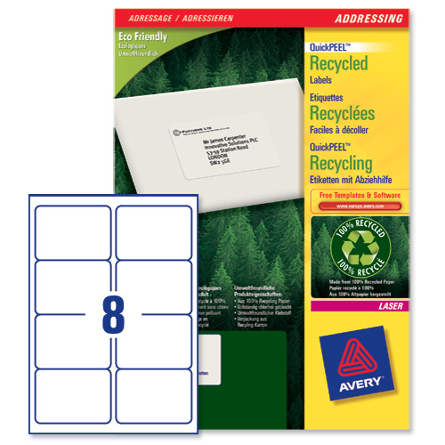 Avery lr7165 quickpeel recycled addressing labels white for 8 per page label template