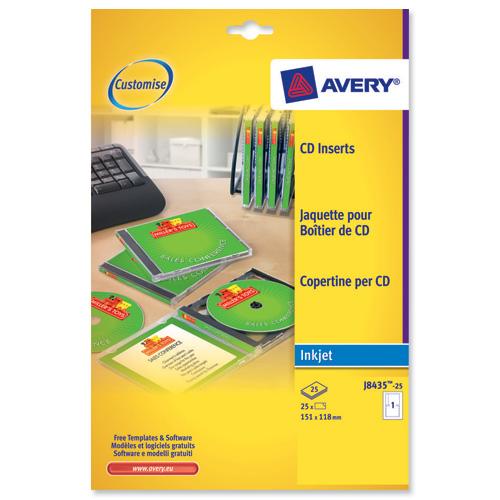 Printing Cd Case Insert: Avery J8435 Inkjet CD Cover And Tray In One Ref J8435-25