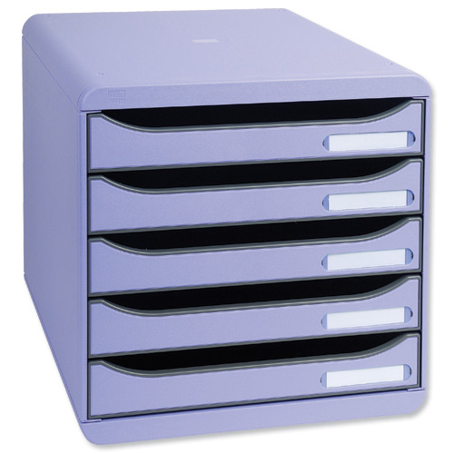Big Box Plus Drawer Set Plastic 5 Drawers each H43mm A4plus Purple Ref 309720D   309720D