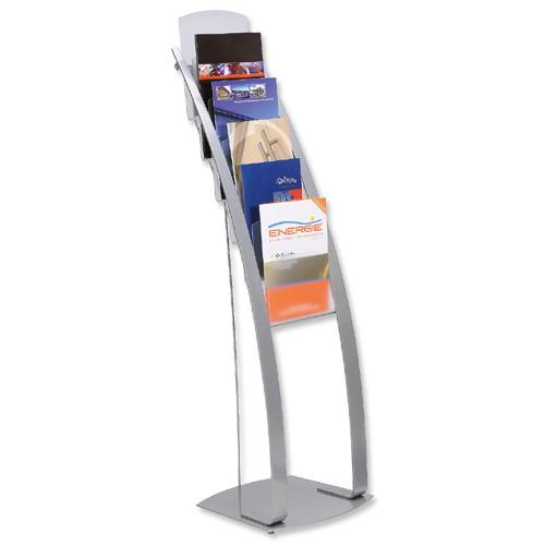 Exhibition Literature Stand : Literature display floor stand a pockets silver