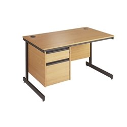 Metro Cantilever Rectangular Desk with 2-Drawer Pedestal 1228x746x725 Oak