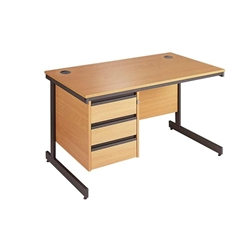 Metro Cantilever Rectangular Desk with 3-Drawer Pedestal 1228x746x725 Oak