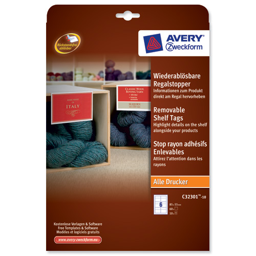 avery shelf talker label removable 6 per sheet 85x55mm self adhesive white ref c32301 10 uk 60. Black Bedroom Furniture Sets. Home Design Ideas