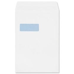 Plus Fabric Envelopes Lightweight Pocket Press Seal Window 90gsm C4 White [Pack 250] - Item image